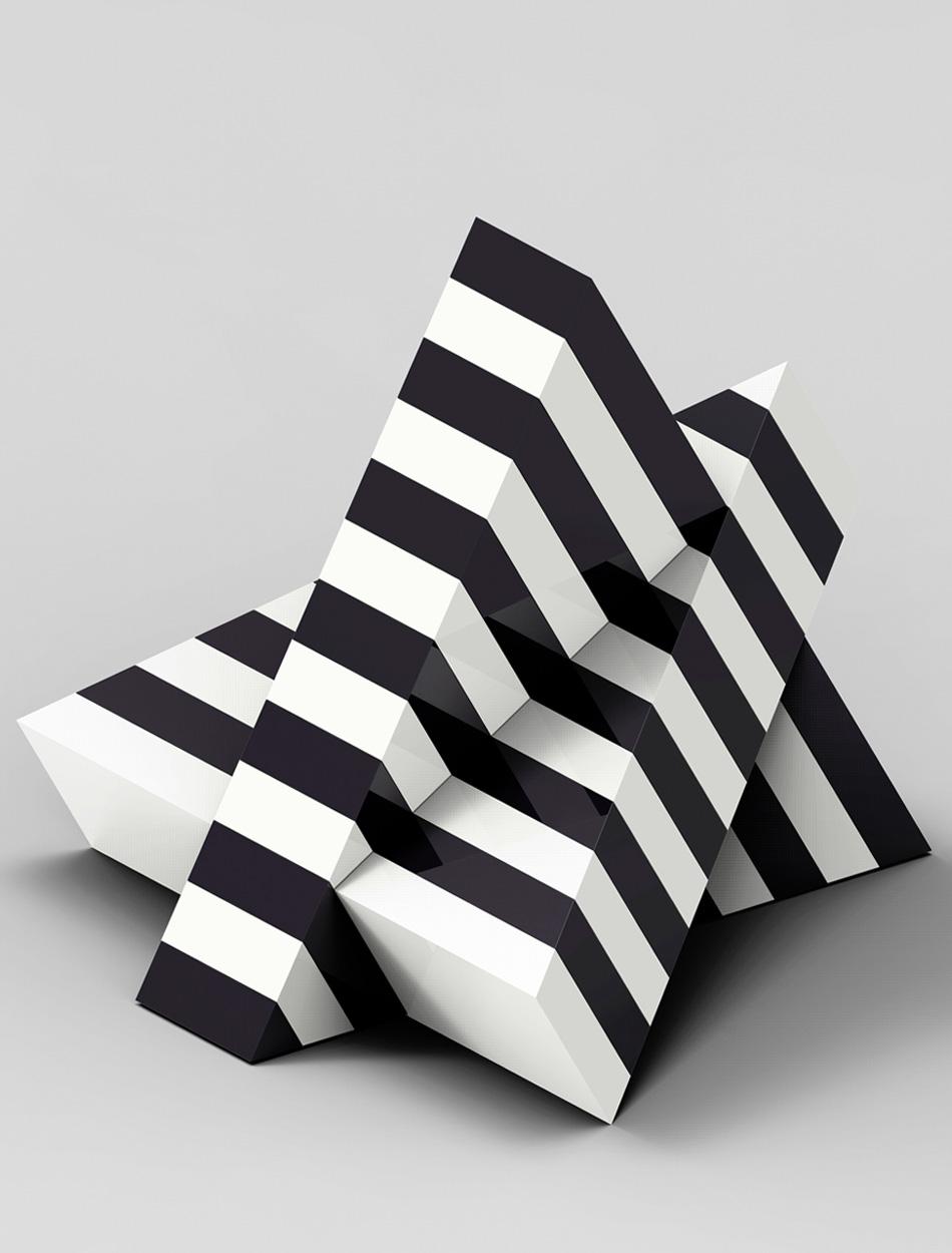 Opera scultorea in bianco e nerodi Marcello Morandini